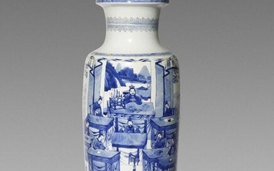 A CHINESE BLUE AND WHITE 'WATER MARGIN' ROULEAU VASE KANGXI 1662-1722 Painted with a scene from The Water Margin depicting a soldier lifting a bronze ding high above his head with one hand, with many further warriors and scholar-officials watching the...
