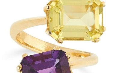 A CITRINE AND AMETHYST TOI ET MOI RING set with an