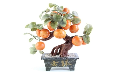 A Chinese Faux Mandarin Tree with Stone Leaves and Fruit (H 35cm)