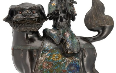 A Chinese champlevé enamel bronze figure, depicting a...