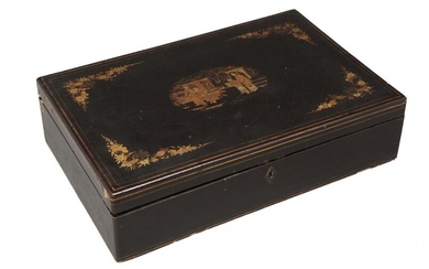 A Chinese export lacquer box, mid-19th century,...