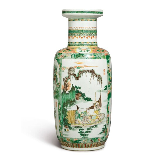A FAMILLE-VERTE 'FIGURAL' ROULEAU VASE, QING DYNASTY, KANGXI PERIOD