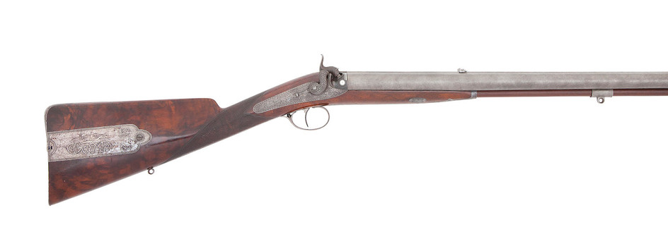 A Fine And Rare Irish 17-Bore Percussion Single-Trigger D.B. Sporting Rifle