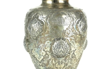 A GOOD 19TH CENTURY PERSIAN SILVER BALUSTER VASE Embossed in...