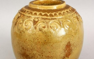 A GOOD CHINESE TEA DUST GLAZED POTTERY MOULDED JAR