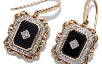 A PAIR OF VICTORIAN INSPIRED ONYX AND DIAMOND EARRINGS; 19 x 16.6mm plaques each centring a round brilliant cut diamond set on an on...