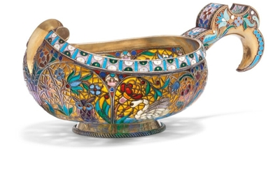 A PLIQUE-À-JOUR AND CLOISONNÉ ENAMEL SILVER-GILT KOVSH, MARKED P. OVCHINNIKOV WITH IMPERIAL WARRANT, OVERSTRIKING MAKER'S MARK CYRILLIC 'AO', MOSCOW, 1899-1908