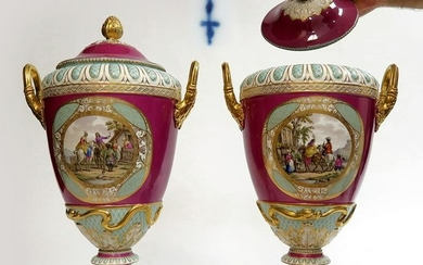 A Pair Of Large Berlin KPM Vases Circa 1860s