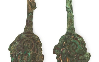 A Pair of Chinese Animal-Form Bronze Belt Hooks Length