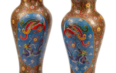 A Pair of Chinese Export Cloisonné-Over-Porcelain Floor Vases on Gilt Metal Bases