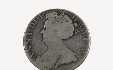 A Queen Anne crown, 1707, second bust, post-Union, card moun...