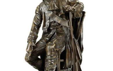 A RARE BRONZE MODEL OF PETER THE GREAT, CAST BY A. SOKOLOV, AFTER THE MODEL BY ALEXANDER OPEKUSHIN, CIRCA 1872