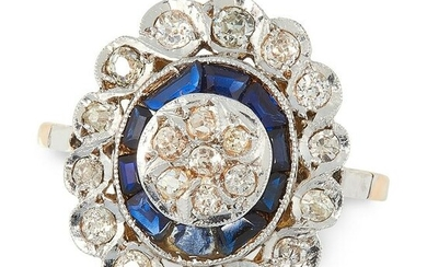 A SAPPHIRE AND DIAMOND DRESS RING in yellow gold, set