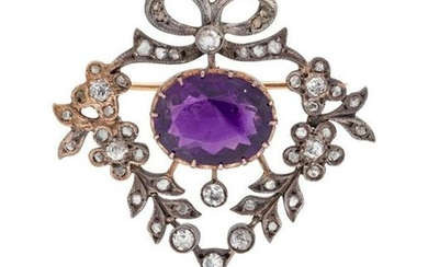 A Silver Topped Gold, Amethyst and Diamond
