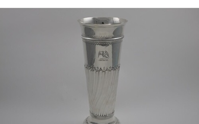 A VERY LARGE, LATE VICTORIAN SINGLE VASE tapering and decora...