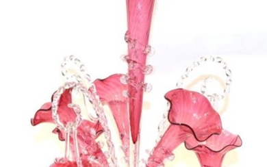 A Victorian cranberry epergne