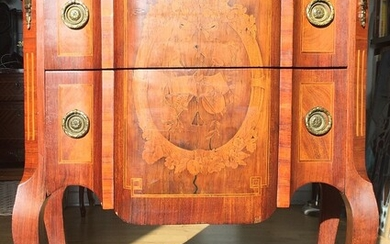 NOT SOLD. A c. 1930 Louis XV style rosewood chest of drawers, front with two...