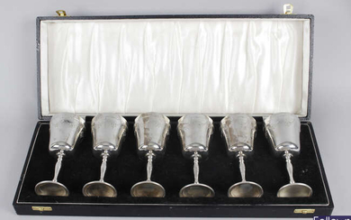 A cased set of six mid-20th century silver goblets.