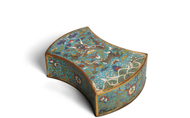 A cloisonné ingot-shaped box