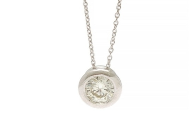A diamond solitaire pendant set with a brilliant-cut diamond, app. 0.30 ct., mounted in 14k white gold on a 14k white gold necklace. (2)