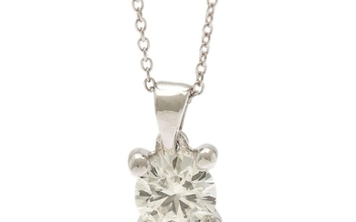 A diamond solitaire pendant set with a brilliant-cut diamond weighing app. 0.45 ct., mounted in 14k white gold. Accompanied by necklace of 14k white gold.