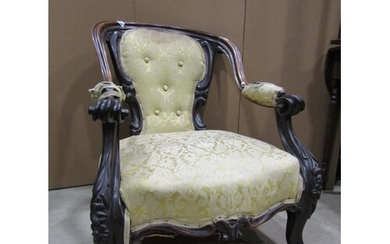 A good quality Victorian rosewood drawing room chair with ho...
