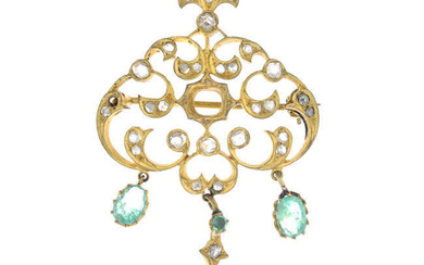 A late 19th century 15ct gold emerald and diamond brooch.