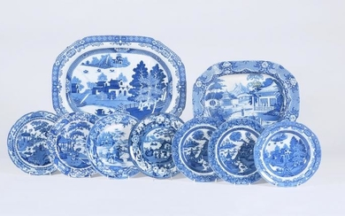 A miscellaneous selection of Staffordshire blue and white chinoiserie pottery