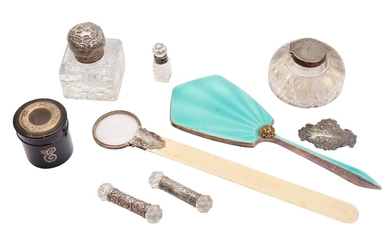 A mixed group of sterling silver mounted items
