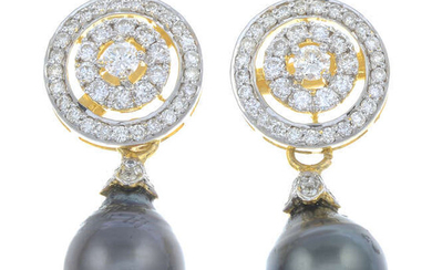 A pair of brilliant-cut diamond and cultured pearl drop earrings.