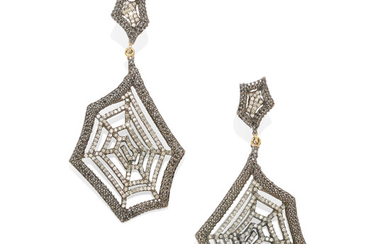 A pair of colored diamond and diamond spiderweb ear pendants