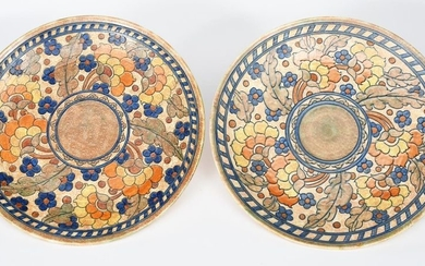 A pair of large Crown Ducal Byzantine chargers...