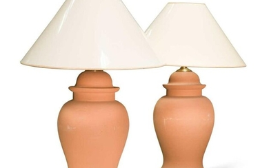 A pair of modern terracotta baluster vase lamps