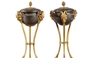 A pair of patinated and gilt-bronze urns, late Louis XVI, circa 1790 | Paire de cassolettes en bronze patiné et doré, fin de l'époque Louis XVI, vers 1790