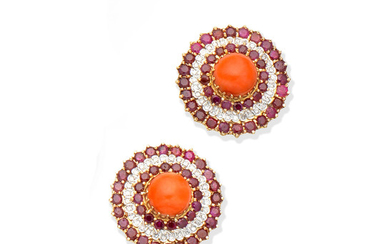 A pair of ruby, coral and diamond earclips, circa 1970