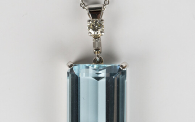 A platinum, aquamarine and diamond pendant, claw set with a rectangular cut aquamarine and a diamond