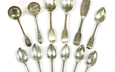 A quantity of George III and later Irish silver flatware