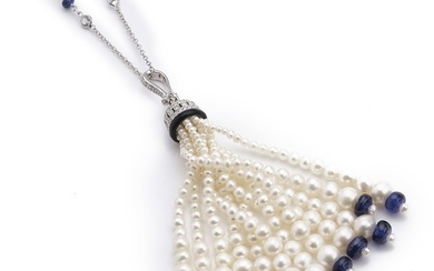 A sapphire and topaz necklace with a sapphire and pearl pendant set with numerous sapphires, pearls and diamonds, mounted in 18k white gold. L. app. 92 cm. (2)