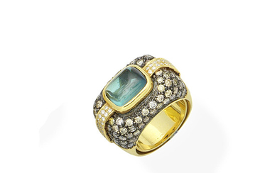 A tourmaline, coloured diamond and diamond dress ring