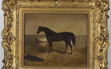 A.B. Ould, Provincial School - 'Gladiator' (Study of the Horse in a Stable), oil on panel