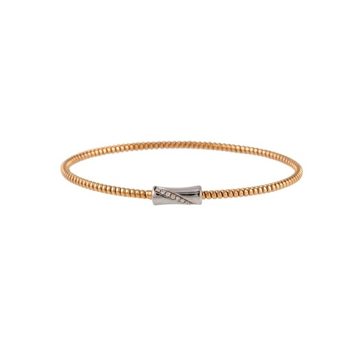 AN 18CT YELLOW GOLD BANGLE, to a diamond set white gold clas...