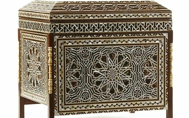 AN OTTOMAN TORTOISE AND MOTHER- OF- PEARL INLAID WOODEN