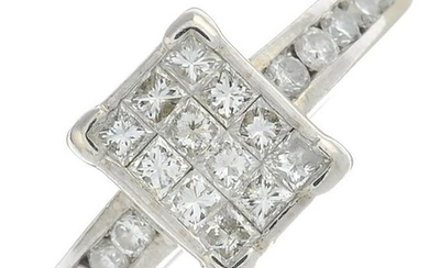 An 18ct gold square-shape diamond cluster ring, with