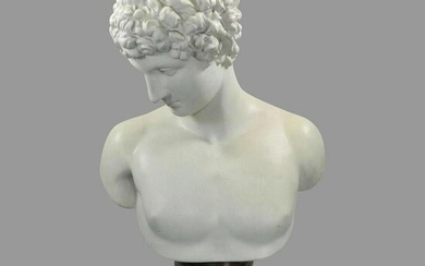 An Antique Large Bust of Antinous Made of Biscuit on