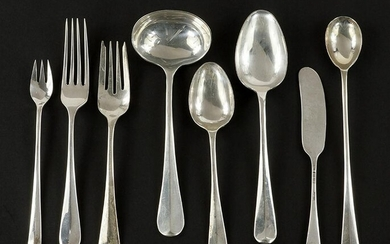 An English Silver Assembled Flatware Service.