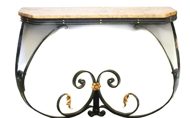An iron marble console table with parcel gilt scrolling and foliate decoration