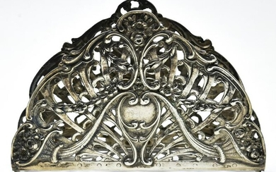 Antique Reticulated 800 Silver Napkin Holder