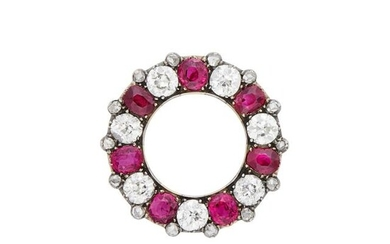 Antique Silver, Gold, Ruby and Diamond Circle Brooch, France