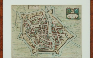 Antique topographical map of Dockum, J Bleau from 1649
