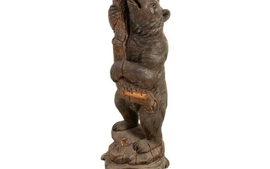 Black Forest Carved Bear Hall Tree Coat Rack Stand